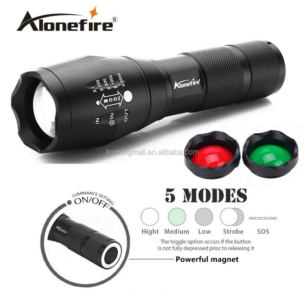 AloneFire G700-S 3800LM led flashlight XML T6 LED White/Green/Red Tactical flashlight Handheld Hunting Camping Lantern