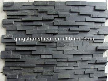 3d Black Slate Split Face Mosaic Wall Cladding Ledger Tile