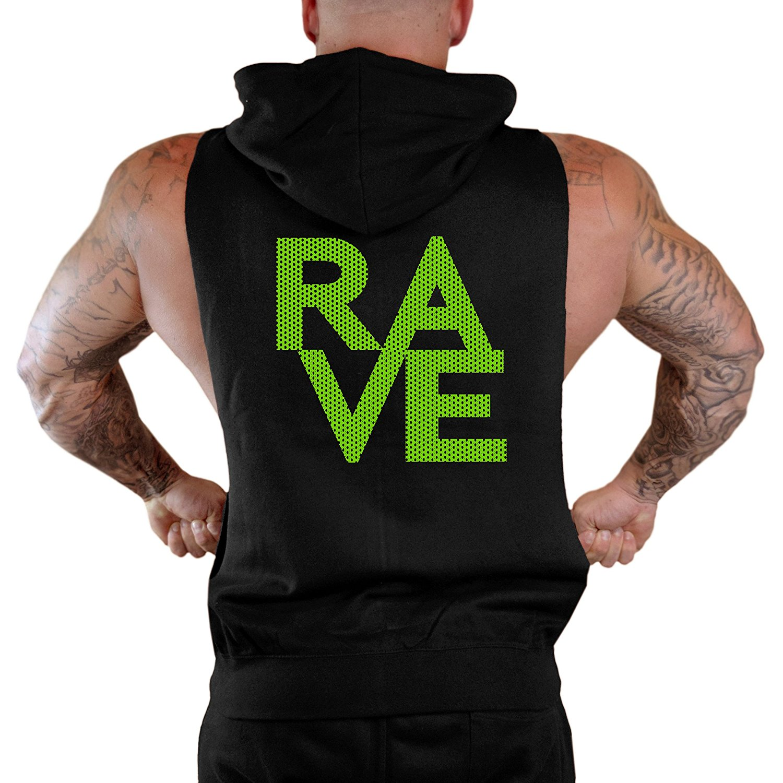 Mens Rave Fade Lines V367 Sleeveless Vest Hoodie