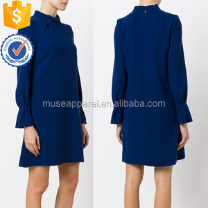 Summer Latest Design 2018 Navy Wool Long Sleeve Pleat Collar Tunic Dress OEM/ODM Women Apparel Clothing Garment Wholesaler