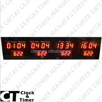 Digital Multi Time Zone Clock Decorative Led Wall Clock With World