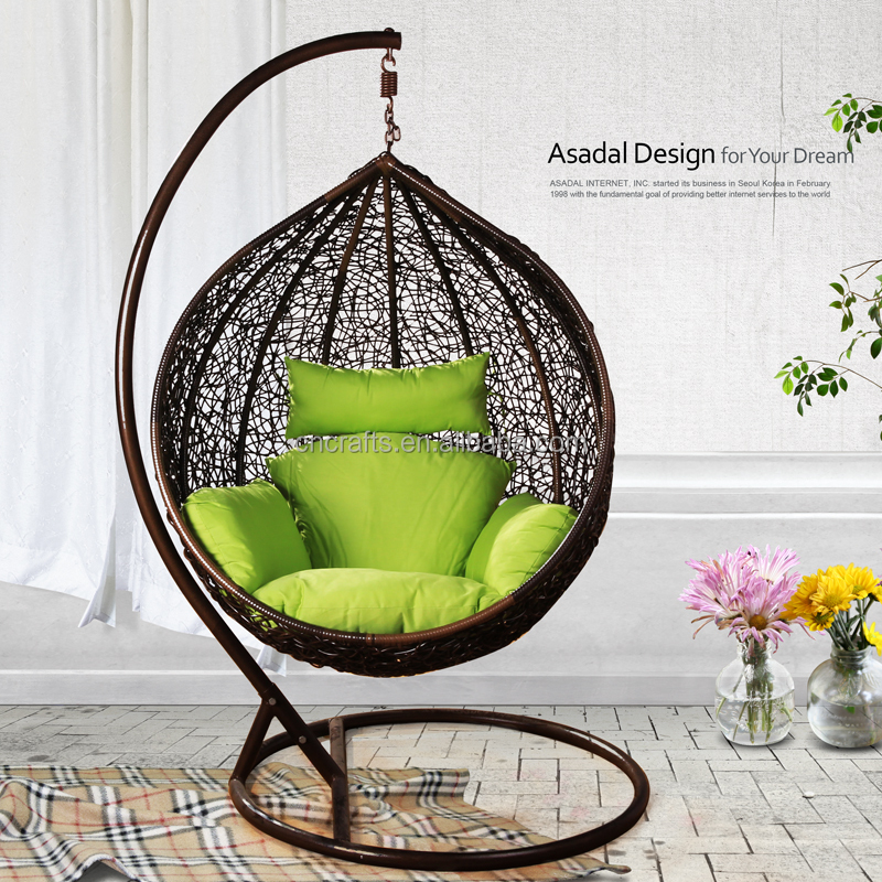 Outdoor Wicker Furniture Rattan Swing Chair/ Porch Swing Chair With Hanging  Stand(LD