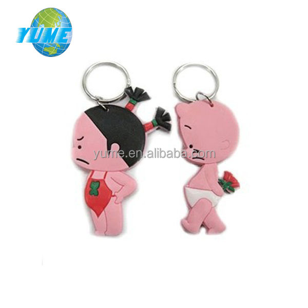 2014 Unique Design Girl & Boy Shape Rubber Soft PVC key chains 3D Pendant with Epoxy Craft - Factory directly