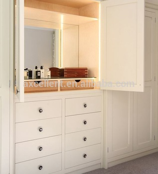 Bon Bedroom MDF Wardrobe Dressing Table Design.