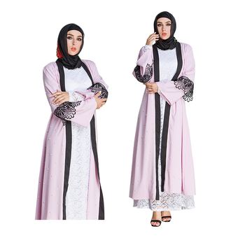 fashion AZTEC Woven Dress Women Middle models pearl lace dubai pink dress abaya