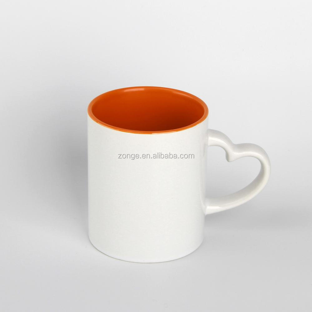 11oz Heart Handle Orange Inside Blank Coffee Mugs Whole