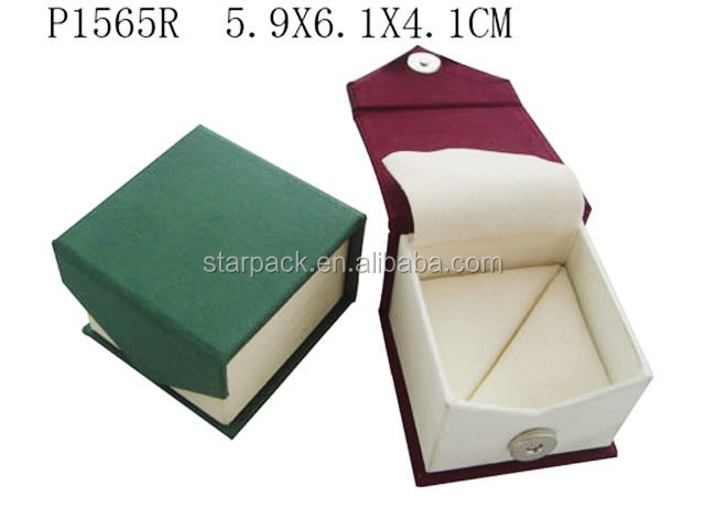 Custom PU Leather Jewellery Gift Packaging Paper Ring Jewelry Box Lining Velvet P1565R