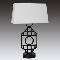 Hotel Oil Rubbed Bronze table lamp with switch with on/off rocker base switch/ outlets and White Linen Hardback shade