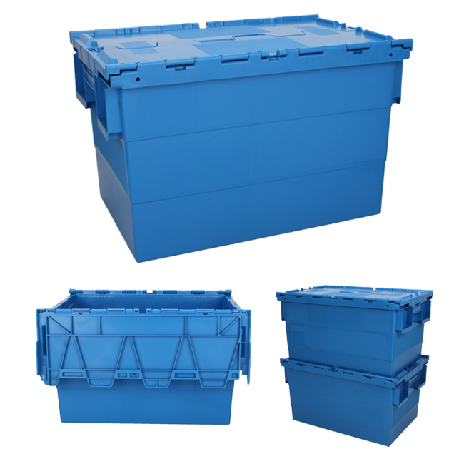 NEW 40L Blue Attached Hinged Lid Heavy Duty Strong Plastic Storage Box Boxes