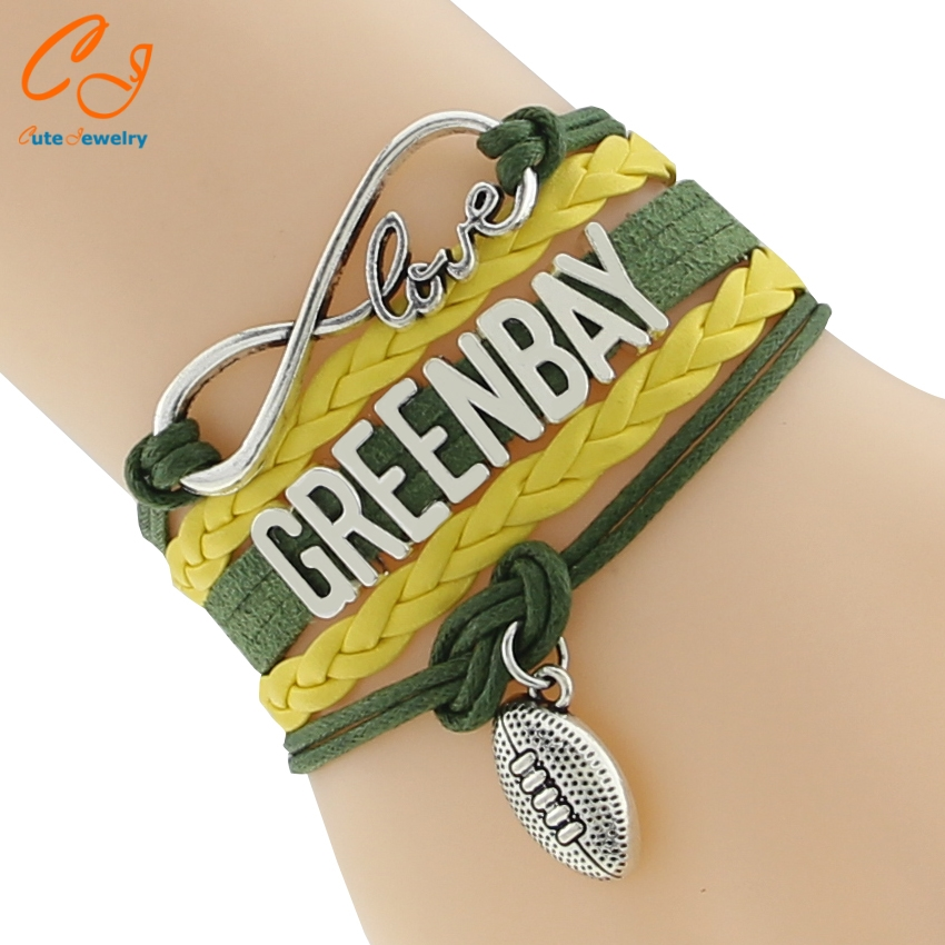 3pcs Beautiful Greenbay Letter Leather Bracelets Dynamic Rope Chain Bracelets Charm Green Yellow Bracelets for Rugby