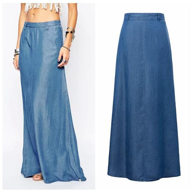 2016 Vintage Denim Blue Floor length Skirts New Plus Size