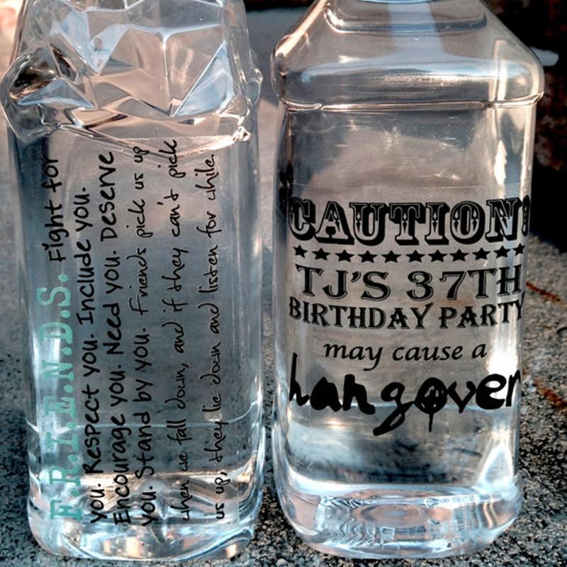 Custom clear various water bottle labels vinyl stickers self adhesive waterproof sticker labels