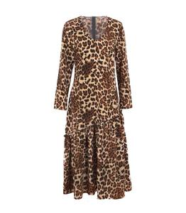 Leopard Autumn Long Maxi Dress Sexy Woman Dress Frock Design For Ladies