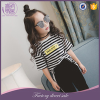 Wholesale Children Clothing USA Cute Baby Girl Stripes Printed Shirt