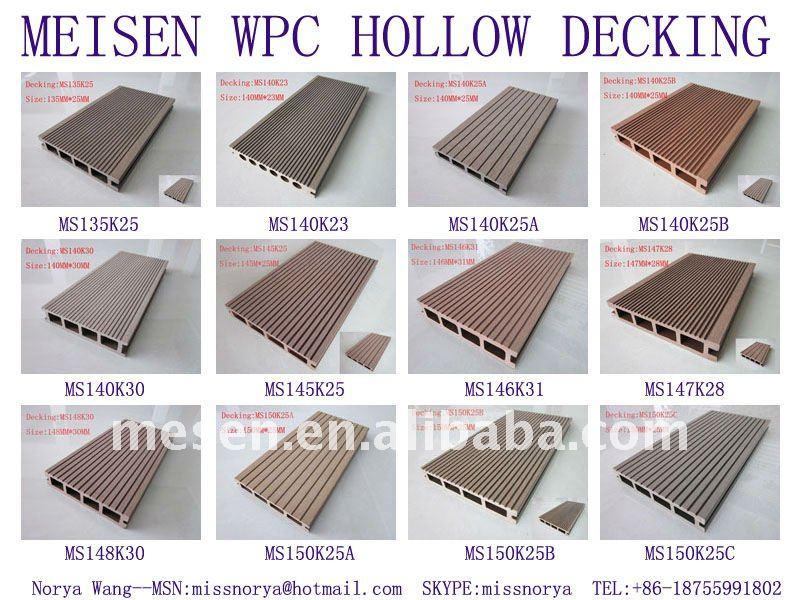 meisen peuplier fiber de bois plastique hdpe composite creux terrasse patio ponton. Black Bedroom Furniture Sets. Home Design Ideas