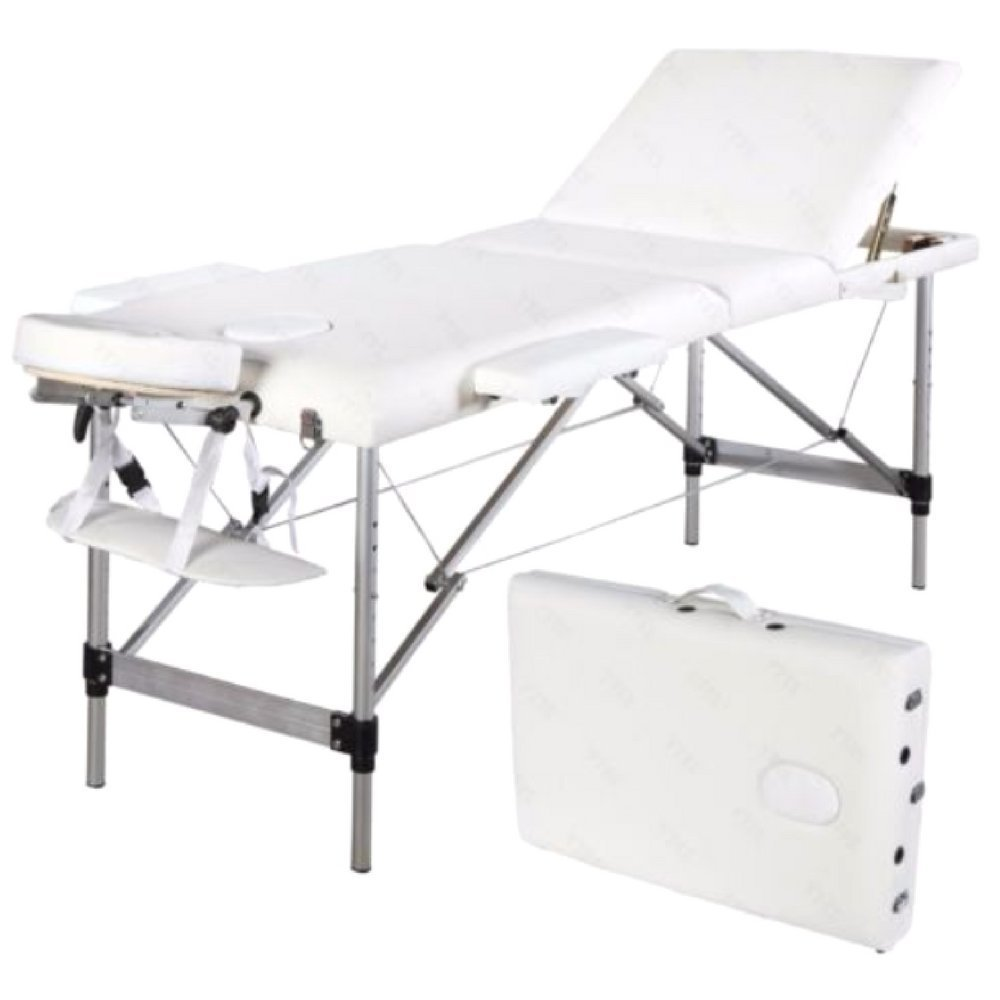 """White Adjustable Salon Spa Massage Bed Tattoo 73"""" Foldable Room Saving Aluminum Tube Strength & Stability Fully Equipped-MegaTrade Prime"""