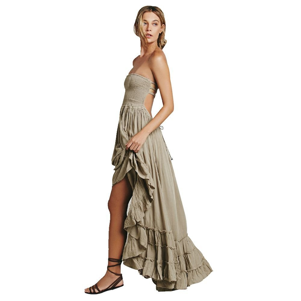 Women Long Maxi Dress, Mosunx(TM) Ladies Summer Dress Strappy Dress Beach Sundress (L, Khaki)