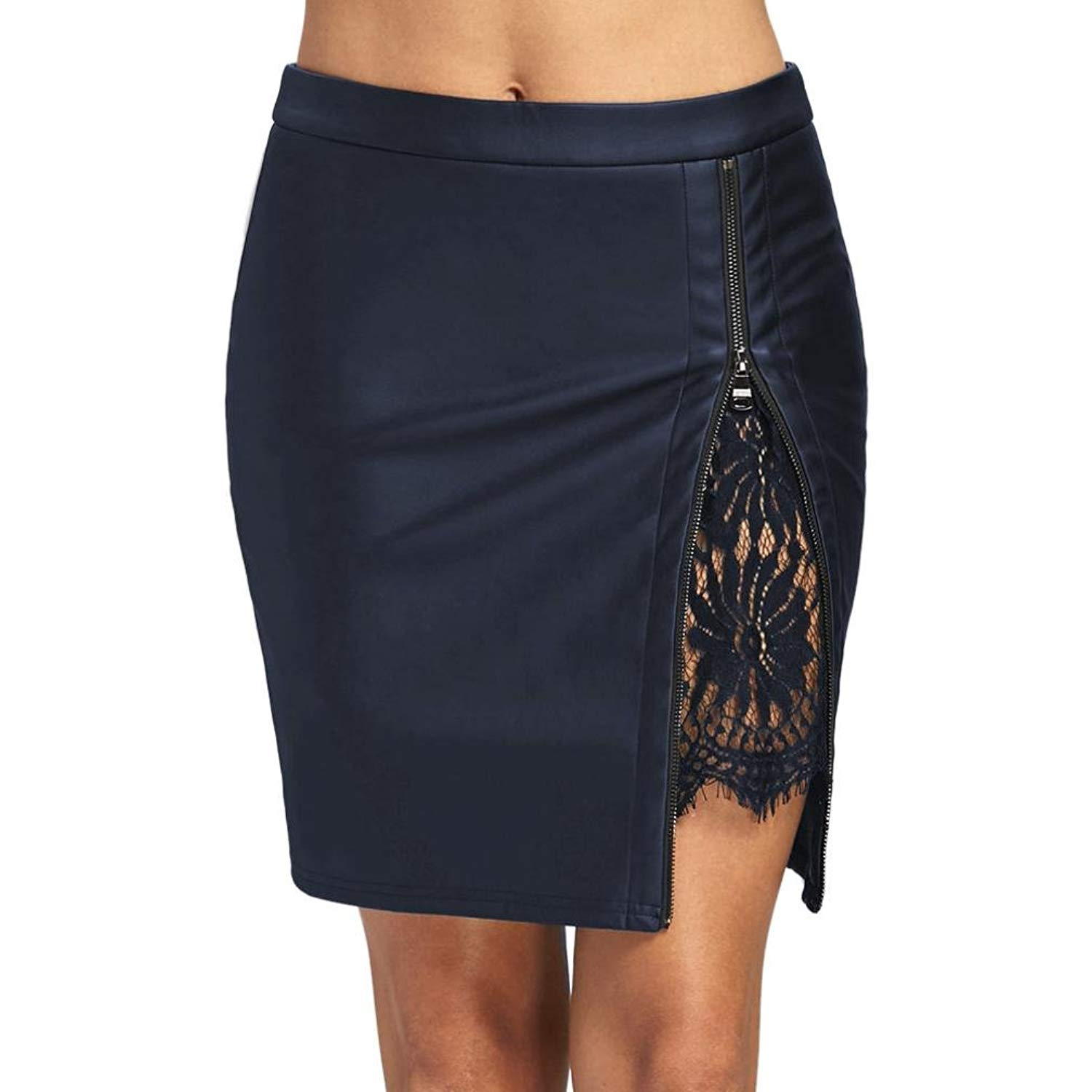 5deff1d96bd04 Get Quotations · WM   MW Hot Sale! Womens Skirt Sexy Lace Floral Spliced  Zipper Faux Leather Party