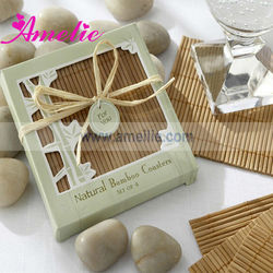 ACC018 Eco-Friendly Natural Bamboo Coasters Favors wooden coaster