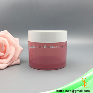 Thick base 100g custom red color cosmetic plastic packaging PETG jar for personal skin care with white lid
