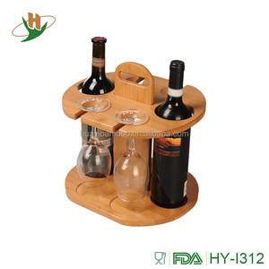 Bamboo Wine Glass Holder Rack Display Organizer Stand Holder 2 Bottles and 4 Glasses