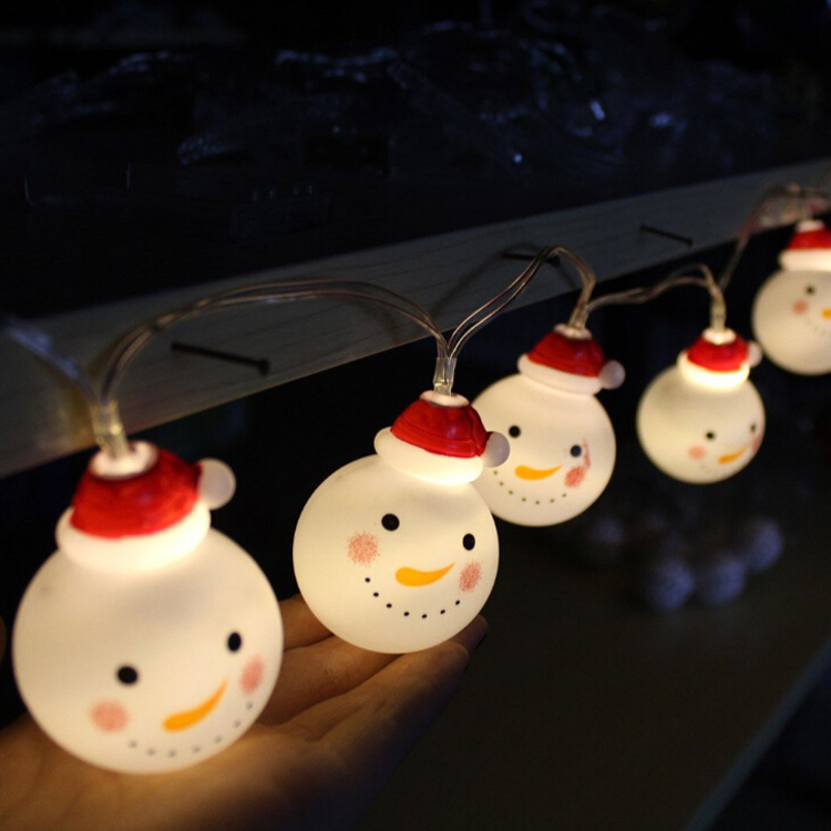 Battery Powered 10 LED 4ft Snowman String Lights Christmas Lights for X-mas Tree, Garden, Patio, Indoor and Outdoor Decor