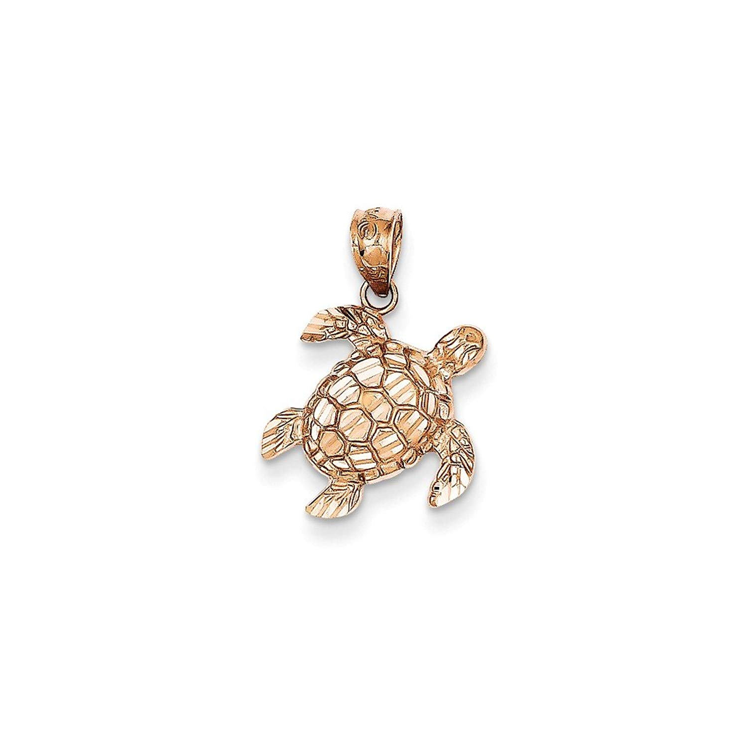 ICE CARATS 14kt Rose Gold Turtle Pendant Charm Necklace Sea Life Fine Jewelry Ideal Gifts For Women Gift Set From Heart