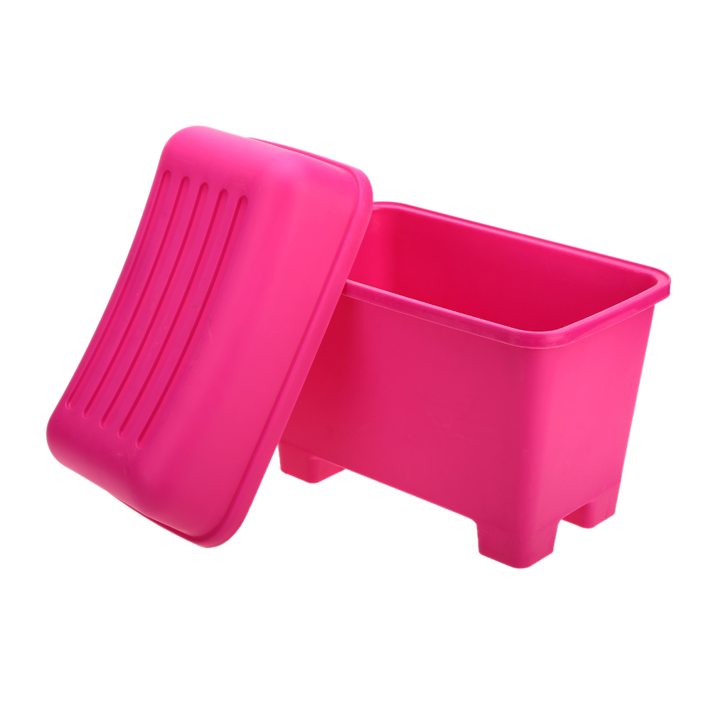 New Hot Durable Large Capacity Plastic Storage Box Bins Stool Organizers Plastic Containers Rose Color