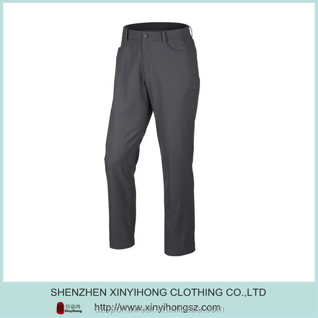 95% Polyester+5% spandex woven fabric mens golf pants with customized embroider logo