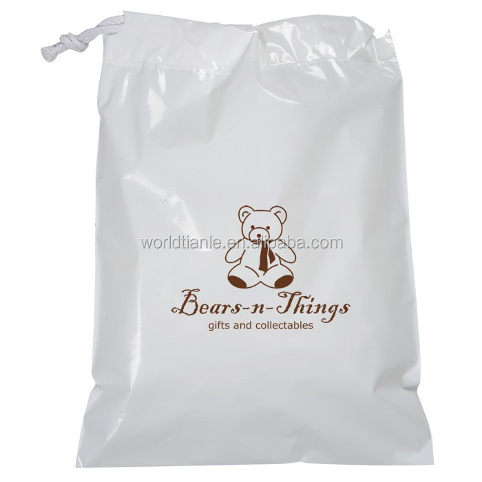 Customized Poly Plastic Drawstring Hotel Laundry Bag Packaging Clothes For
