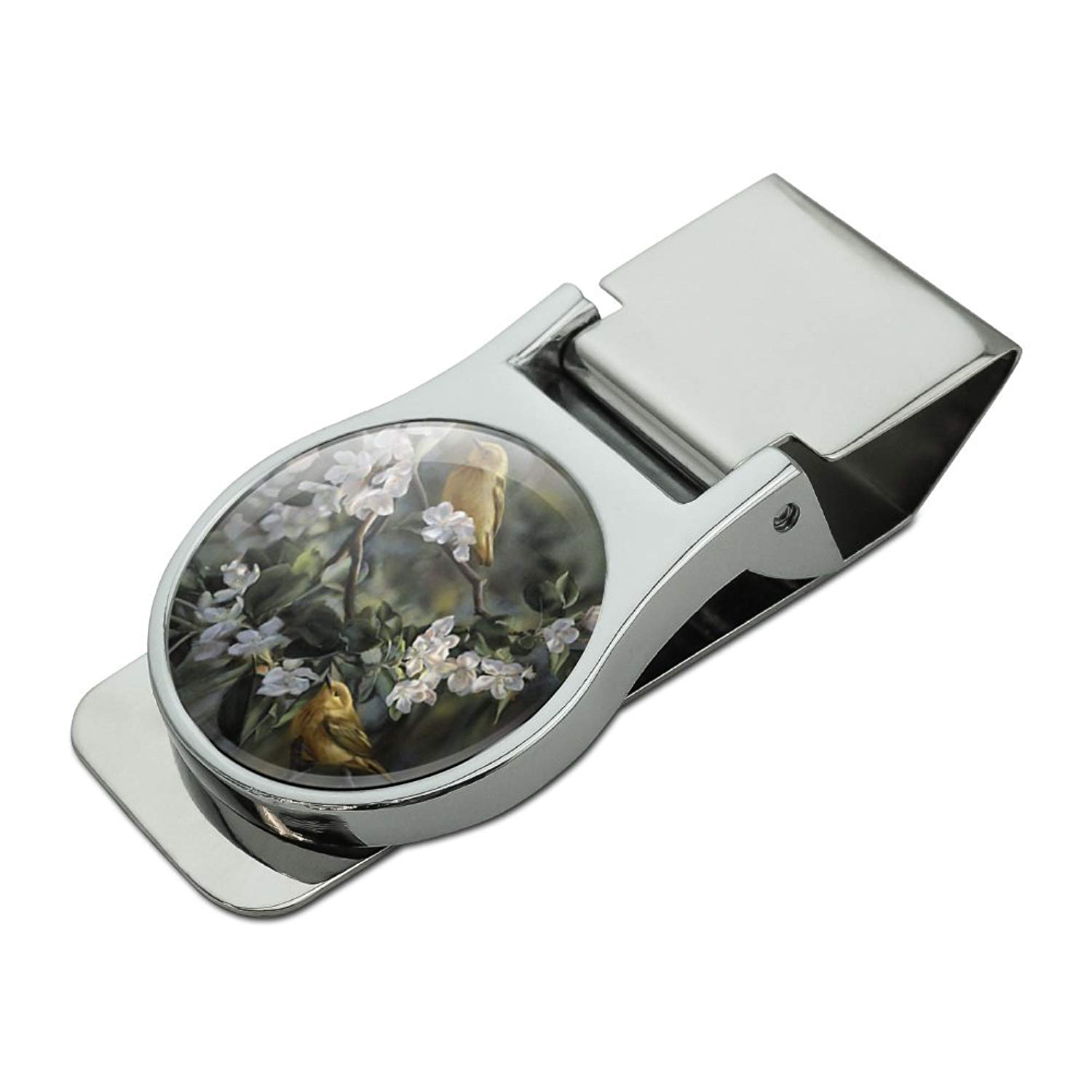 American Yellow Warblers Birds Satin Chrome Plated Metal Money Clip