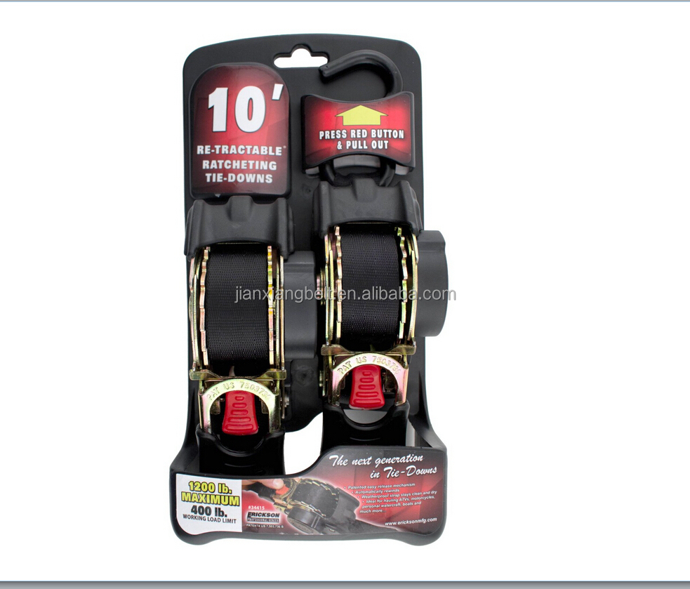 black good quality Retractable Ratchet Strap for Tie-Down Strap