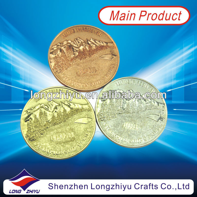 Sports meeting metal commemorative award gold silver bronze medals coin,3D design logo coins with wooden box packing for souveni