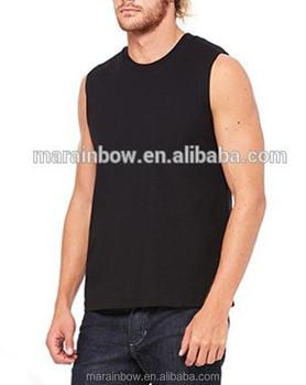 9ec2a8370d14d Mens Jersey Muscle Tee Black White Cotton Plain Deep Cut Tank Top Crew Neck  Sleeveless