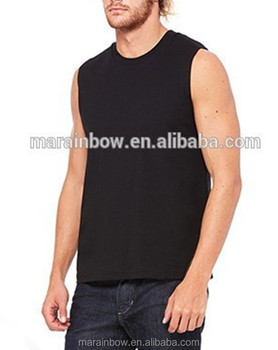 3226976f964018 Mens Jersey Muscle Tee Black White Cotton Plain Deep Cut Tank Top Crew Neck  Sleeveless