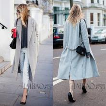 2014 New Design Winter coat women Grey Wool Coat Long sleeve Turn-down Collar Women's  coat OL Fashion Lady  Women's clothing