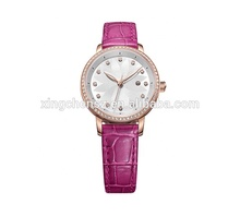 custom logo women rose gold diamond stainless steel watch Leather band watch sexy watches women