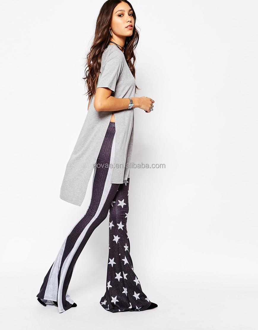 100 Cotton Fabric For T-shirt New Design T Shirt Women Longline T ...