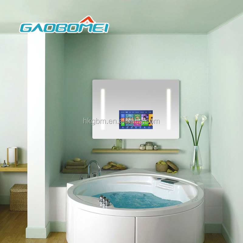 "Gaobomei 24"" advertising mirror bathroom magic mirror monitor touch screen function"