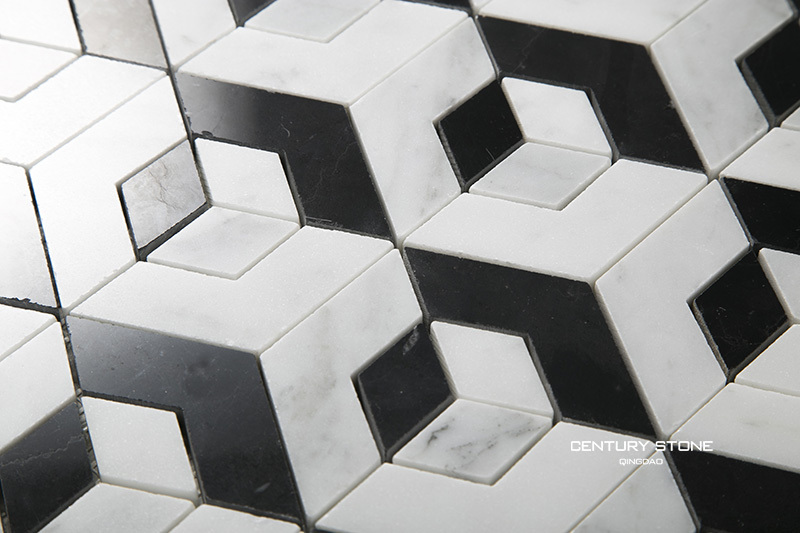 Black And White Geo Weave Shaped Marble Mosaic Tile Wallpapers