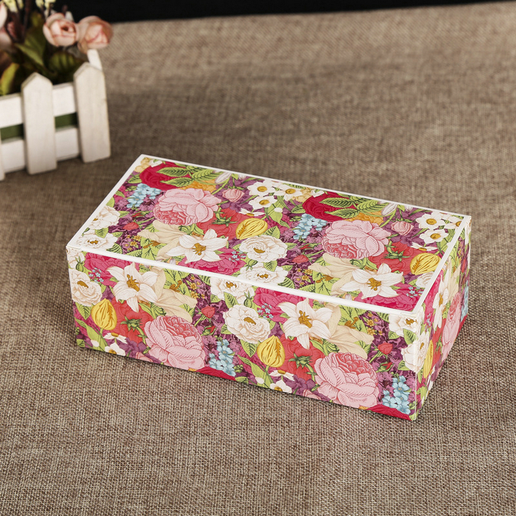 Custom floral printing rectangle reusable food foldable paper sushi color box