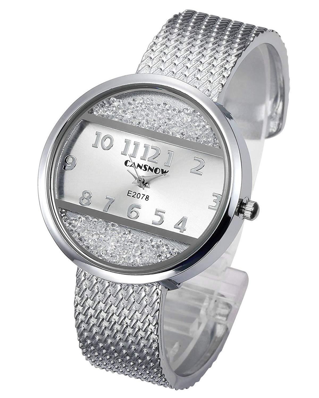 159734d4b8df9 Get Quotations · Top Plaza Women Ladies Casual Luxury Gold Silver Tone  Alloy Analog Quartz Bracelet Watch Round Case