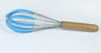 10'' Wooden Handle Silicone Coating Stainless Steel Egg Whisk ...