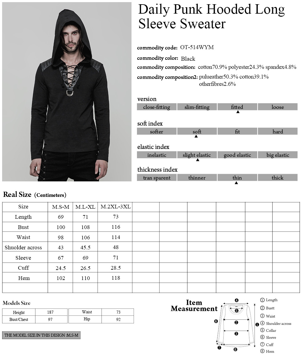 OT514 Stylish punk black leather shoulder long sleeve casual men hoodies