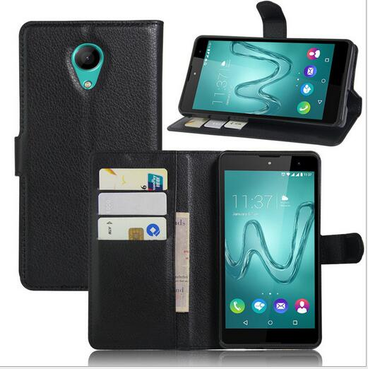 Classical Litchi pattern Slim PU Leather Card slot Wallet flip cover case for wiko robby S-kool