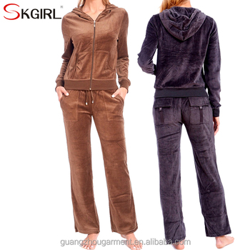 Women s winter plus size zip up hooded jogging hoodie sport wear soft 2  piece velour tracksuit 7977f7dc4b49