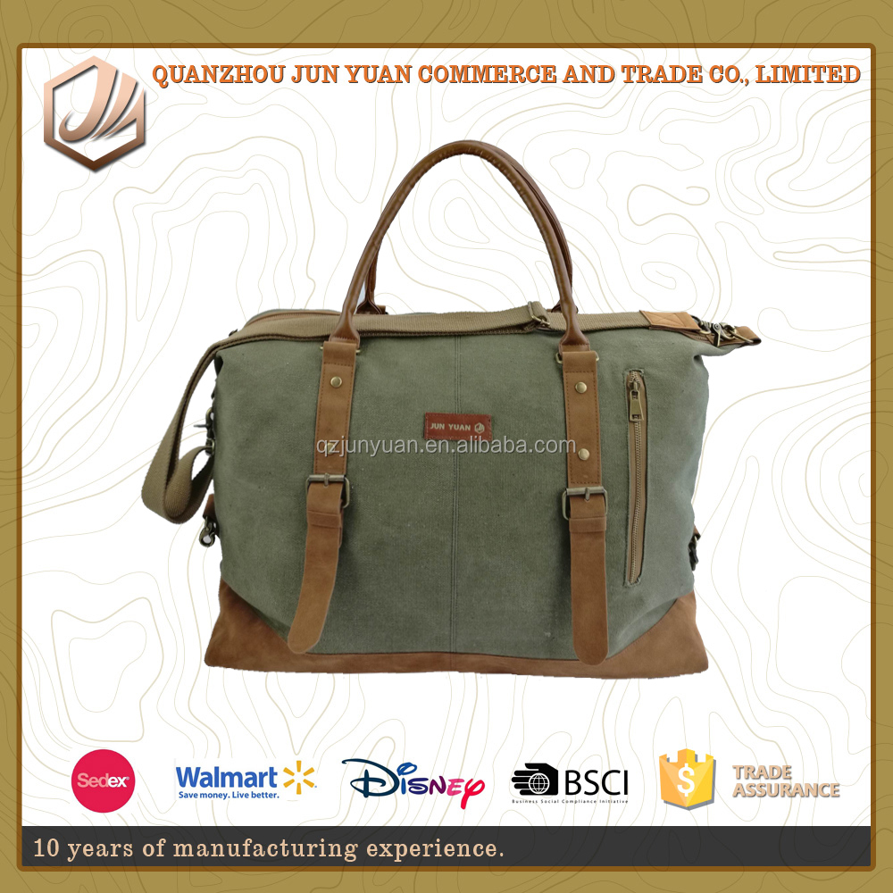 Large capacity army green cotton canvas tote travel bags for travelling