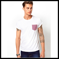 mens blank white tee shirt with printed Pocket