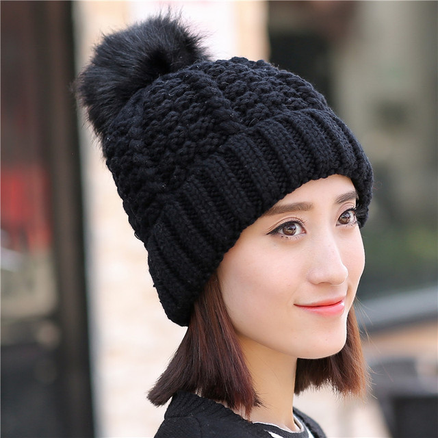 017ee3f7a50 Women Winter Warm Hat Braided Crochet Wool Knit Beanie Beret Ski Ball Cap