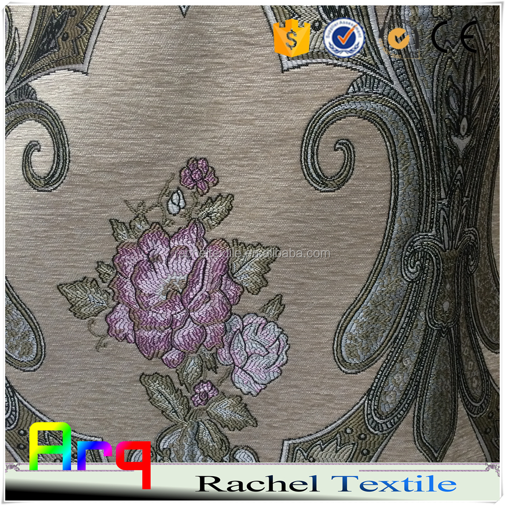 Garden style chenille jacquard fabric for curtain sofa cushions